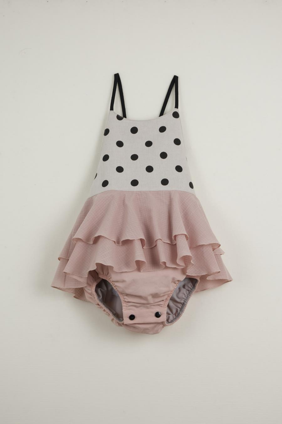 Mod.2.1 - Black polka dot romper suit with frill | SS20Mod.2.1 - Black polka dot romper suit with frill
